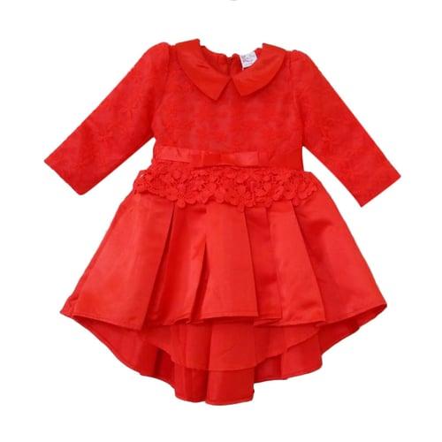 Korea Pink  Tail Satin Dress Anak - Red