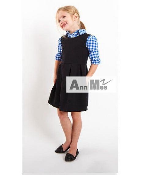 MEE Kemeja Long Sleeve Set Overall Dress Anak - Black