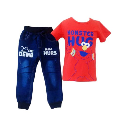 MJ.Stelan Top Monster Hug Pakaian Anak Laki-Laki - Red