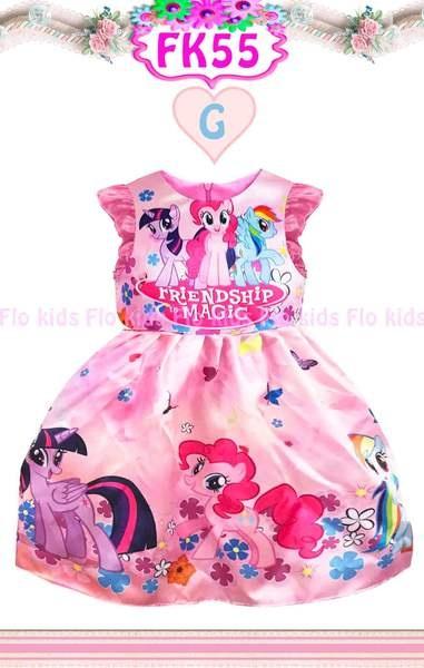 Flower Kids Printed Satin Dress Pony Anak