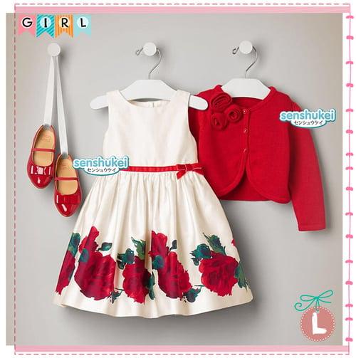 Senshukei Girl Flower Dress Set Red Cardigan Med