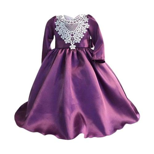 Zoe Fower Long Dress Anak - Dark Purple