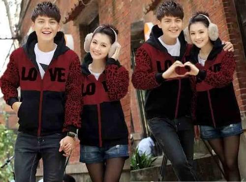 [A 8579 Cp Jkt Love Leo Maroon LT] sweater couple babyterry maroon