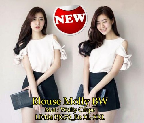 [Blouse Molly Bw SW] blouse wanita wolly crepe broken white