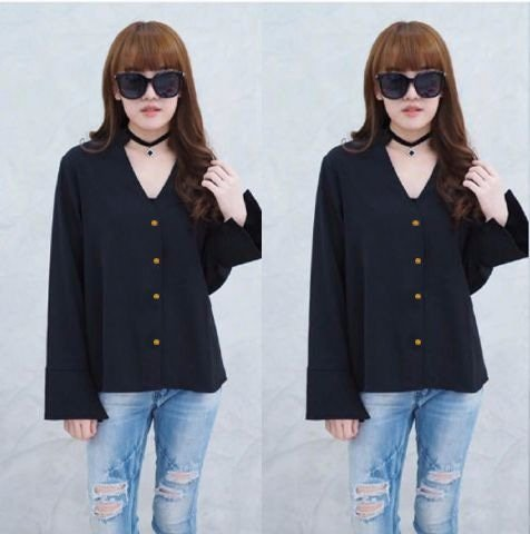 [Blouse Sweety Hitam SW] blouse wanita wolly crepe hitam