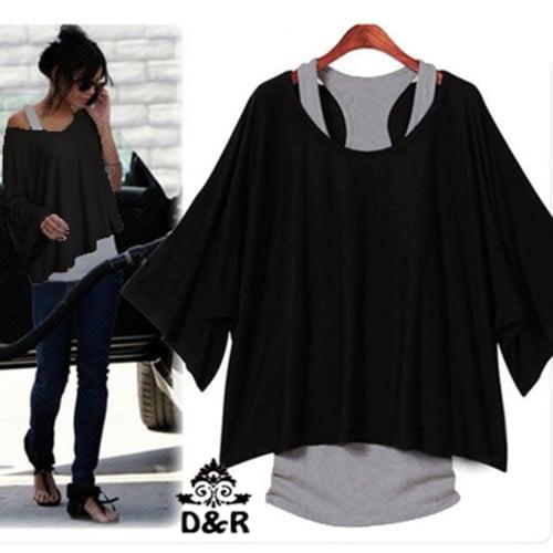 [blus giorgiana 2in1 DR] blouse wanita spandek hitam