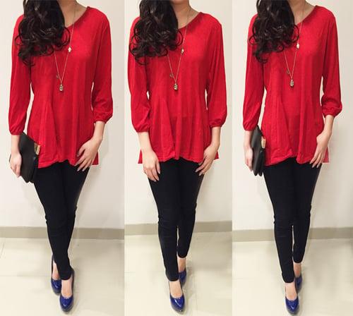 [blus velvet DR] blouse wanita spandek merah