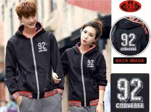 [Cp Jkt Converse Black LT] jaket couple babyterry warna hitam