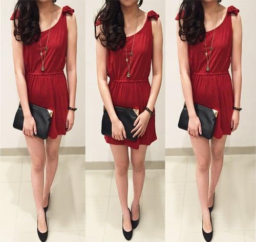 [dress redribbon DR] dress wanita spandek merah