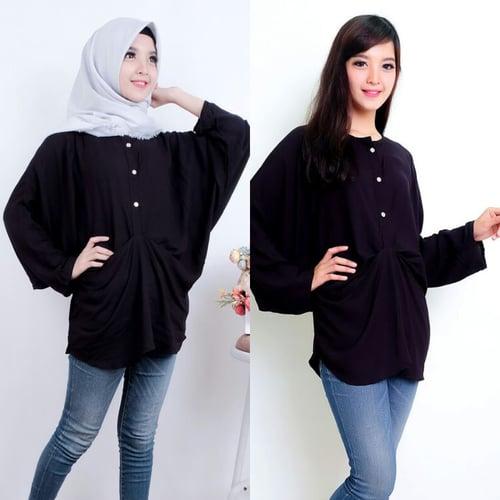 TERLARIS!![AISYAH BATWING AK] blouse wanita rayon bangkok hitam