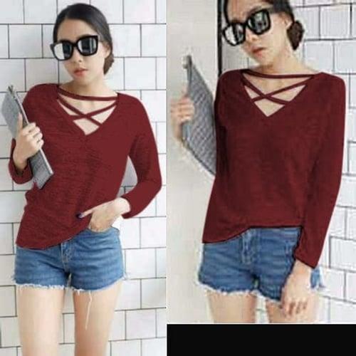 TERLARIS!![Blouse Meica Maroon SW] blouse wanita spandex maroon