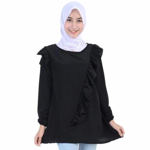TERLARIS!![Blouse Paris Hitam SW] blouse wanita wolly crepe hitam