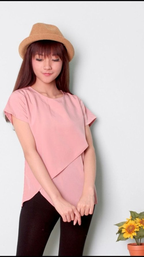 TERLARIS!![blouse Sasa RO] blouse wanita twiscont dusty pink