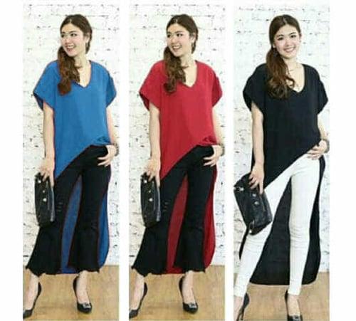 TERLARIS!![Long BLus basic FT] blouse wanita spandek var color