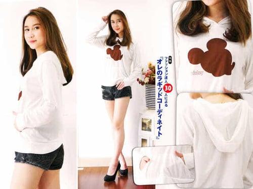TERLARIS!![Sweater mickey FT] sweater wanita spandek putih