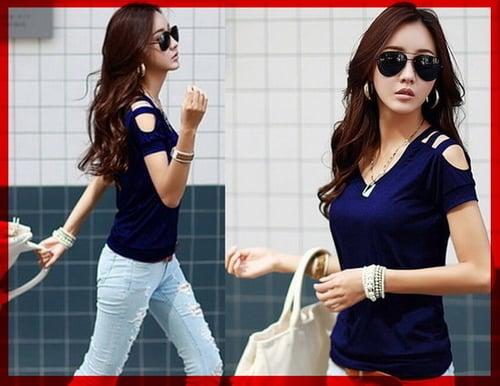 TERLARIS!![Vneck Karen Biru CL] blouse wanita spandek biru