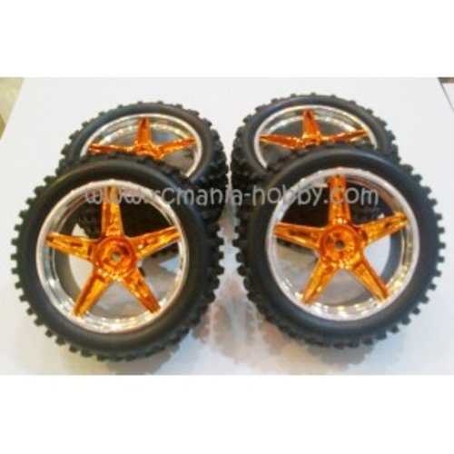 Wheel And Tire Buggy 1/10 Chrome Gold 4Pcs