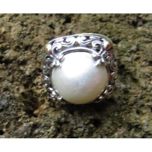 Cincin Perak Motif Ukiran Daun Batu Mabe 100485