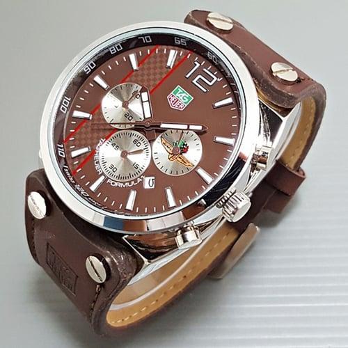 TAG HEUER Jam Tangan Pria Chrono Aktif Leather Full Brown