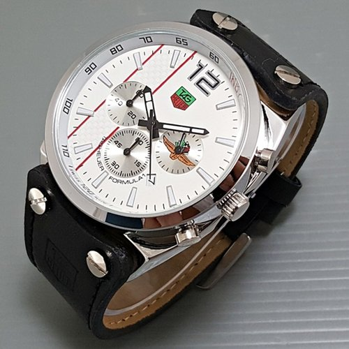 TAG HEUER Jam Tangan Pria Chrono Aktif Leather Black White