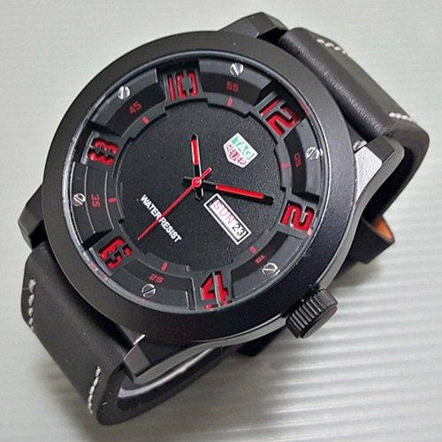 TAG HEUER Jam Tangan Pria Daydate Leather Black list Red