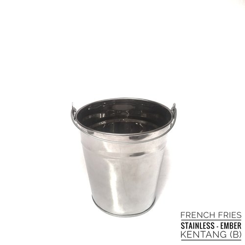 French Fries Nugget Sosis Stainless Bucket Silver L