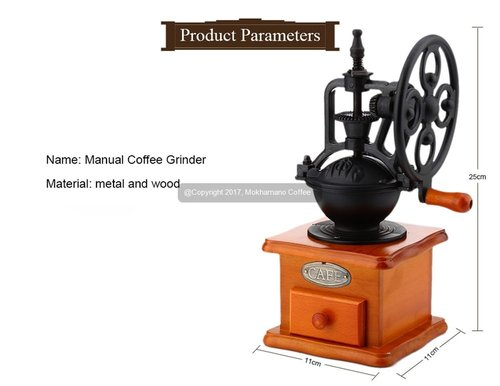 Mokhamano Manual Coffee Grinder Burr Gilingan Kopi Antik Vintage Black