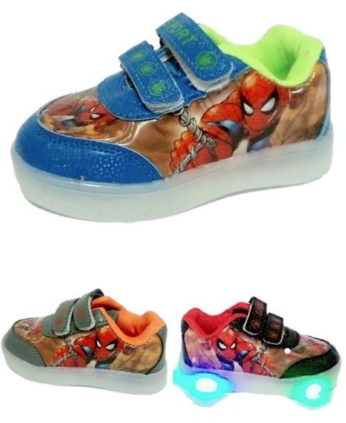 Sepatu Anak Sekolah Spiderman Lampu Led