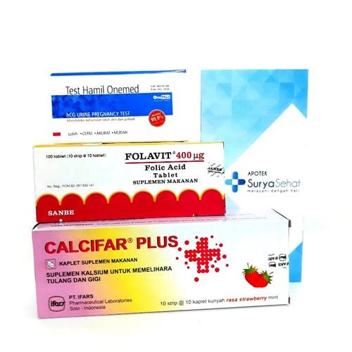 Paket Promil C 60 hari Best Seller! Program Hamil 60 hari (2 bulan) Folavit Calcifar Plus Tes Pack - Apotek Surya Sehat