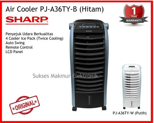 Sharp Air Cooler PJ-A36TY-B - Hitam, 4 Ice Pack