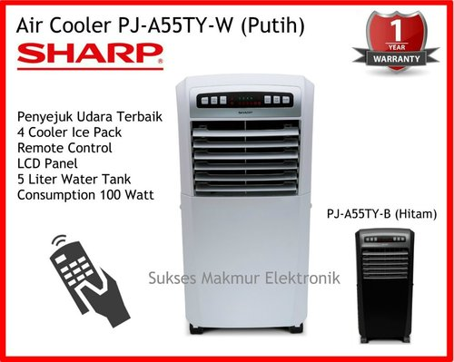 Sharp Air Cooler PJ-A55TY-W - Putih, 100 Watt, 4 Cooler Ice Pack, Remote Control