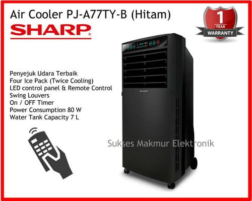Sharp Air Cooler PJ-A77TY-B-Hitam, Water Tank Capacity 7 L, 80 Watt