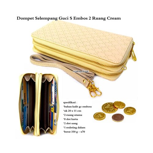 Dompet Wanita Kulit Selempang Emboss 2 Ruang GC S Cream