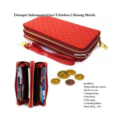 Dompet Wanita Kulit Selempang GC S  Emboss 2 Ruang Merah