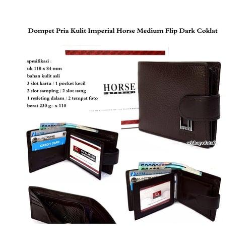 IMPERIAL HORSE  Dompet Pria Wallet Medium Flip Original Kulit Brown
