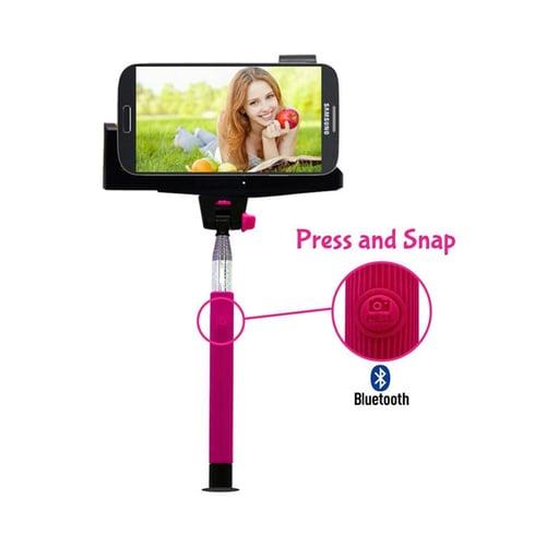 Tongsis Wireless & Bluetooh  Merah Muda