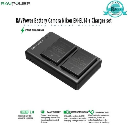 harga RAVPower Battery Camera Nikon EN EL14   Charger set RP BC002 Ralali.com