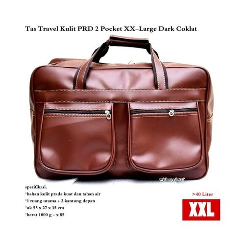 Tas Travel Kulit Suede PRD 2 Pocket  XX-Large Coklat Tua