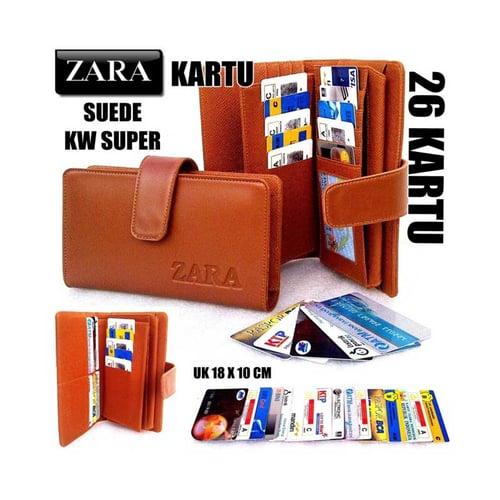 ZARA Dompet Kartu Card Wanita KW Super 26 Kartu Coklat