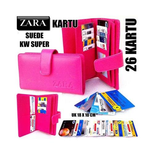 ZARA Dompet Kartu Card Wanita KW Super 26 Kartu Pink