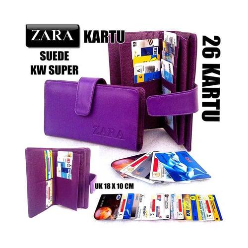 ZARA Dompet Kartu Card Wanita KW Super 26 Kartu Ungu