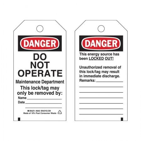 BRADY 65522 B-837 Heavy Duty Polyester Tag (25/Package)