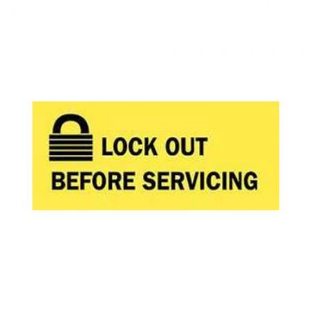 """BRADY 88302 Lockout Sign Polyester 2.25X4.5"""" BLK On"""