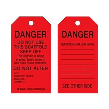 BRADY Heavyduty Scaffolding Tag Danger 86453