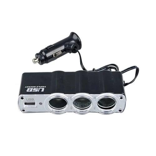 MEDIATECH Triple Car Plug Cigarette Lighter Hitam 12V 24V