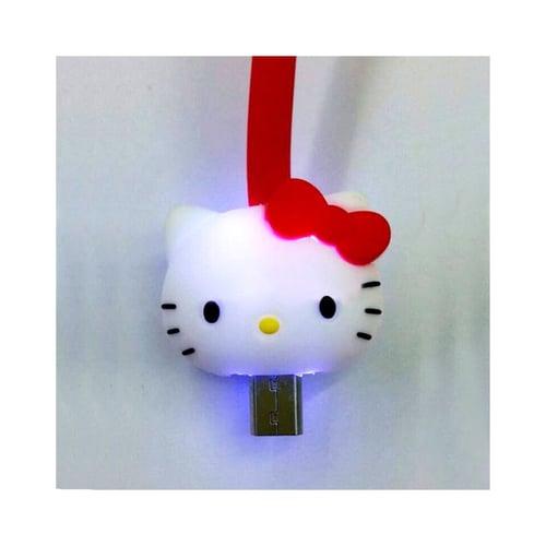 Kabel Led Kartun Micro USB Hello Kity Merah