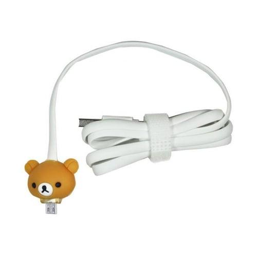 Kabel Led Kartun Micro USB Rilakuma Putih