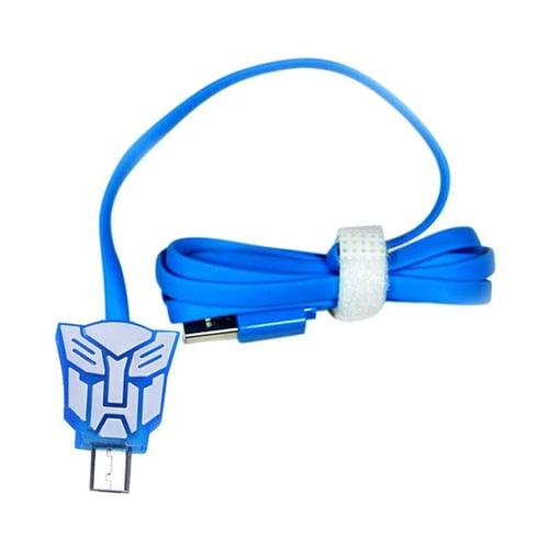 Kabel Led Kartun Micro USB Transformer Biru