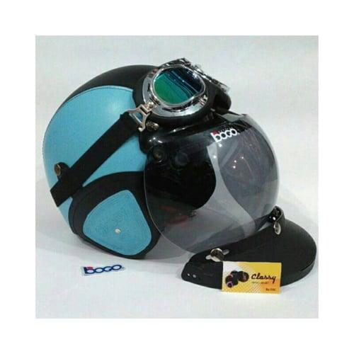 CLASSY Helm Kulit Retro Bogo Komplit Biru Muda Sky Hitam