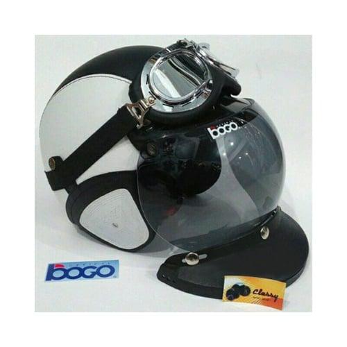 CLASSY Helm Kulit Retro Bogo Komplit Putih Hitam
